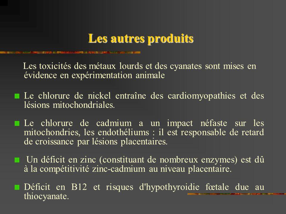 Les autres produits Les toxicités des métaux lourds et des cyanates sont mises en évidence en expérimentation animale