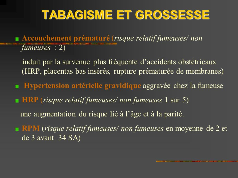 TABAGISME ET GROSSESSE