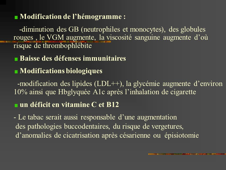 Modification de l'hémogramme :