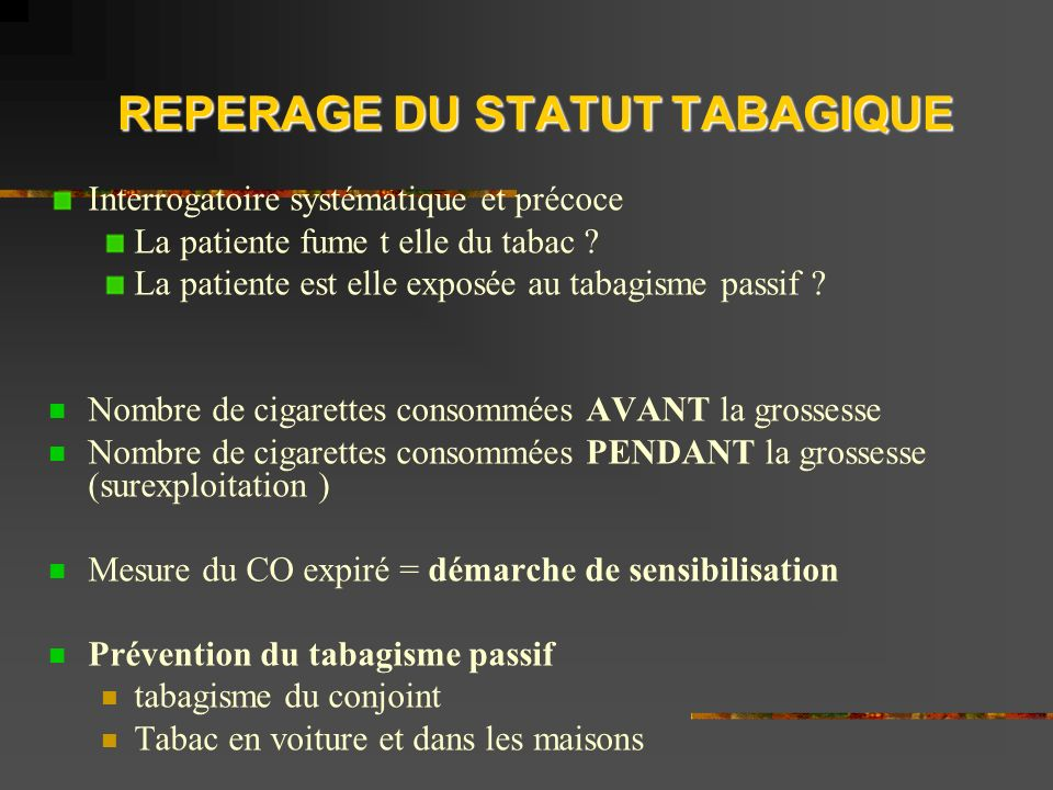 REPERAGE DU STATUT TABAGIQUE