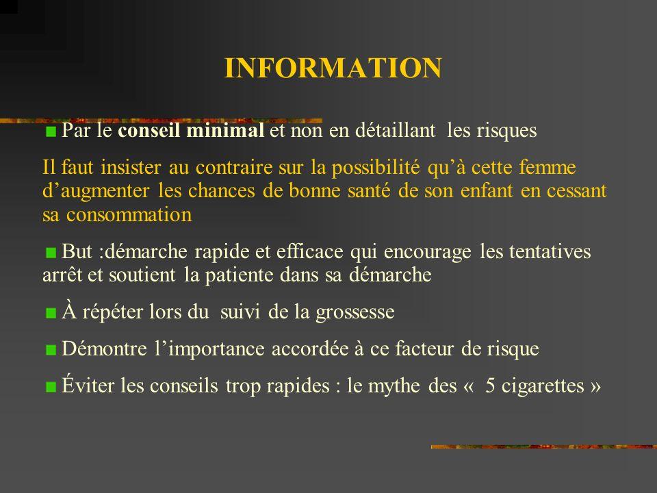 INFORMATION Par le conseil minimal et non en détaillant les risques