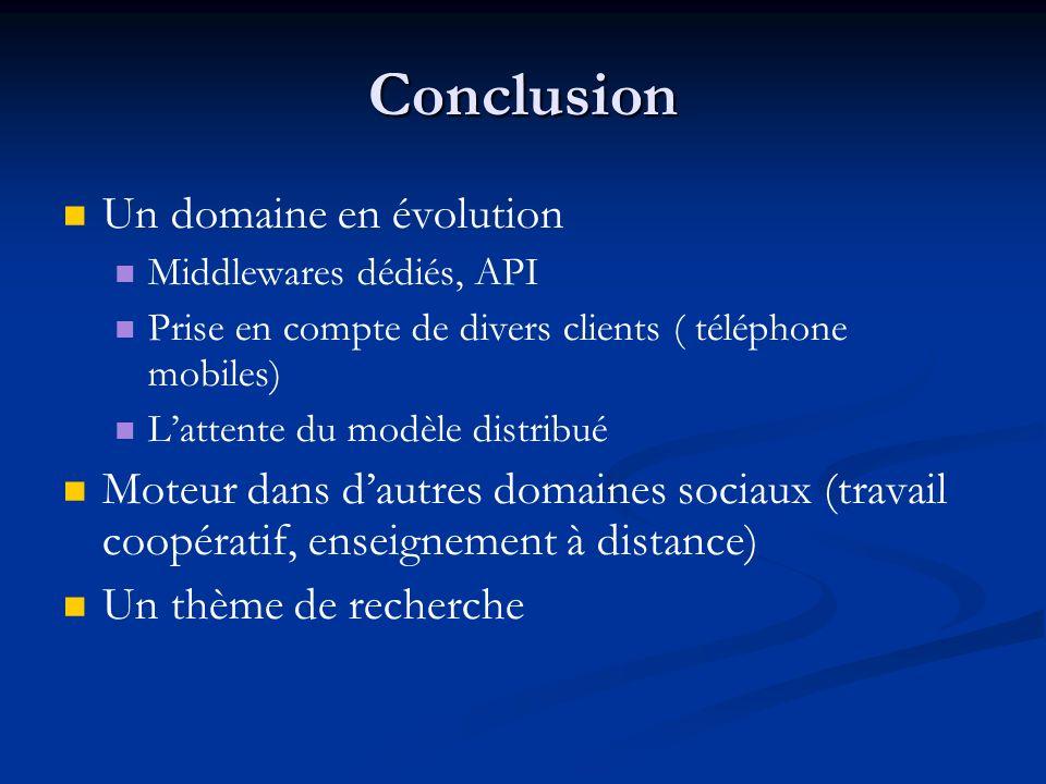 Conclusion Un domaine en évolution