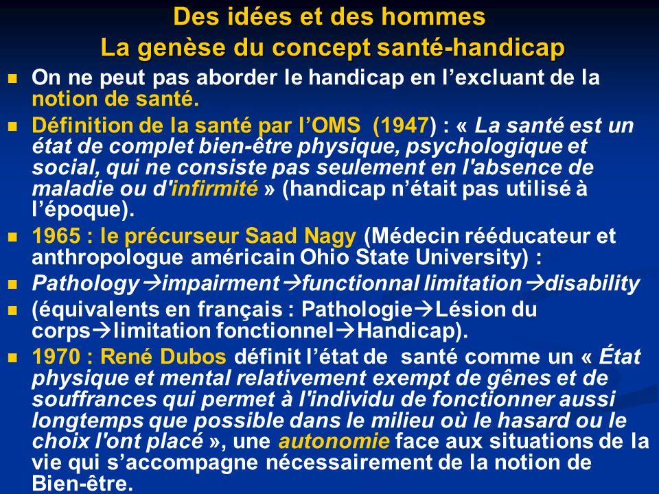Des idées et des hommes La genèse du concept santé-handicap
