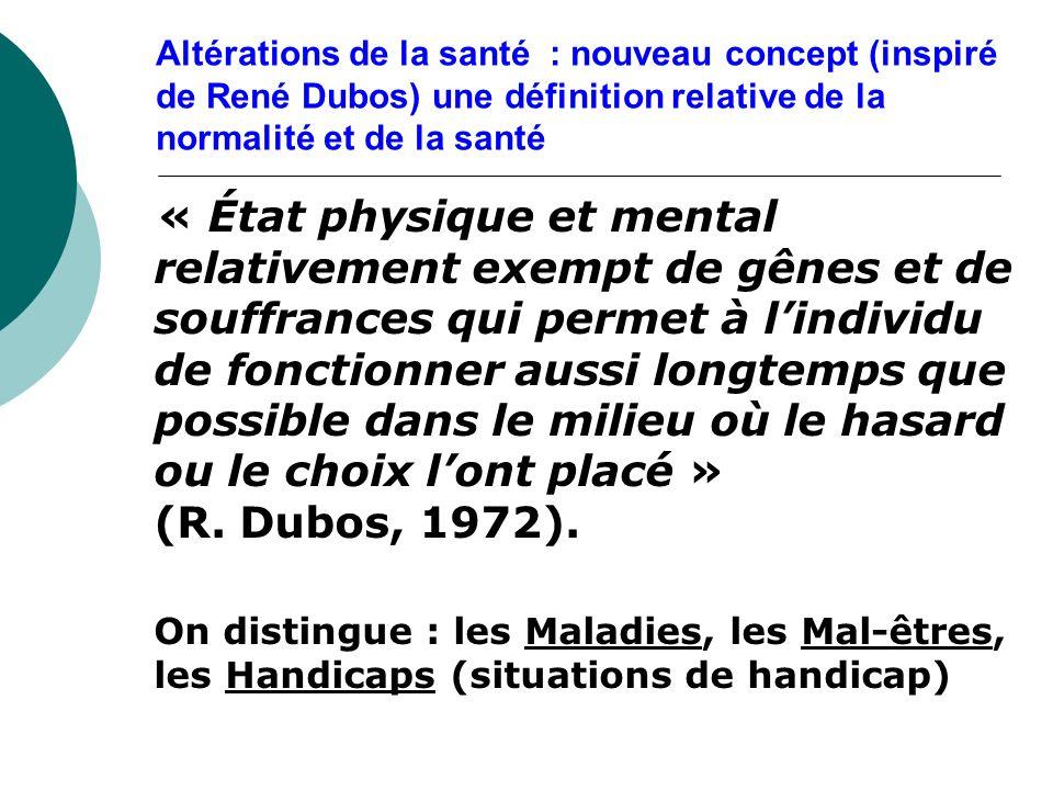 Altérations de la santé : nouveau concept (inspiré de René Dubos) une définition relative de la normalité et de la santé