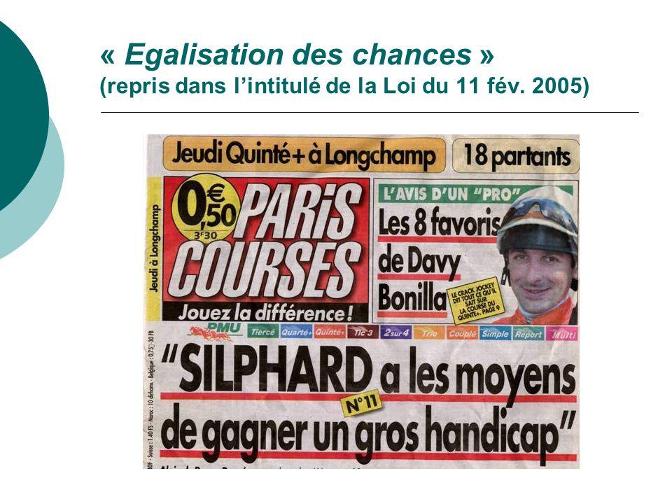 « Egalisation des chances » (repris dans l'intitulé de la Loi du 11 fév. 2005)