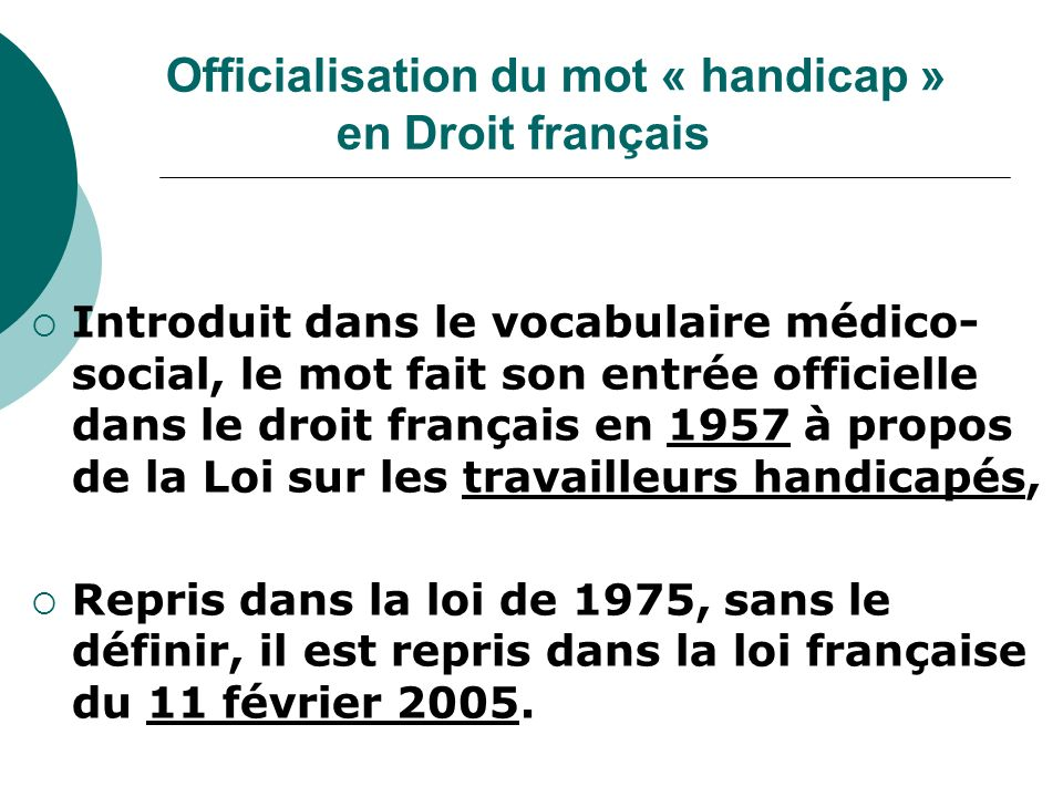 Officialisation du mot « handicap » en Droit français