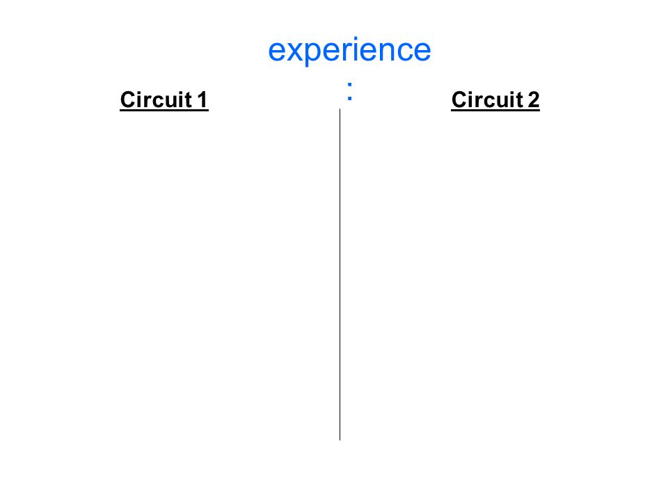 experience : Circuit 1 Circuit 2