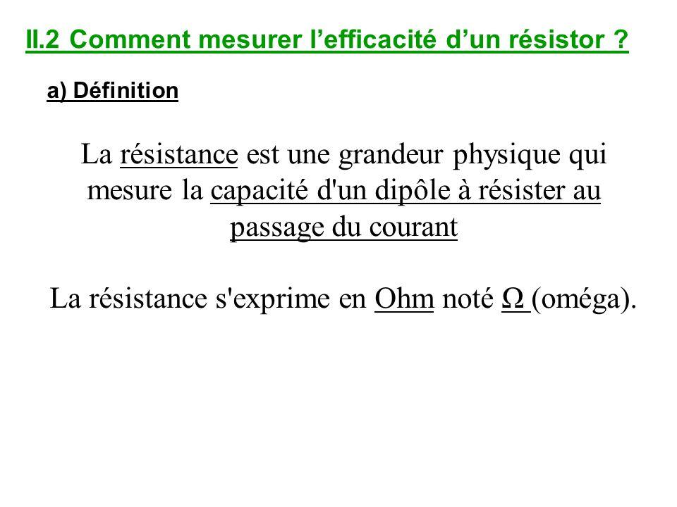 La résistance s exprime en Ohm noté Ω (oméga).