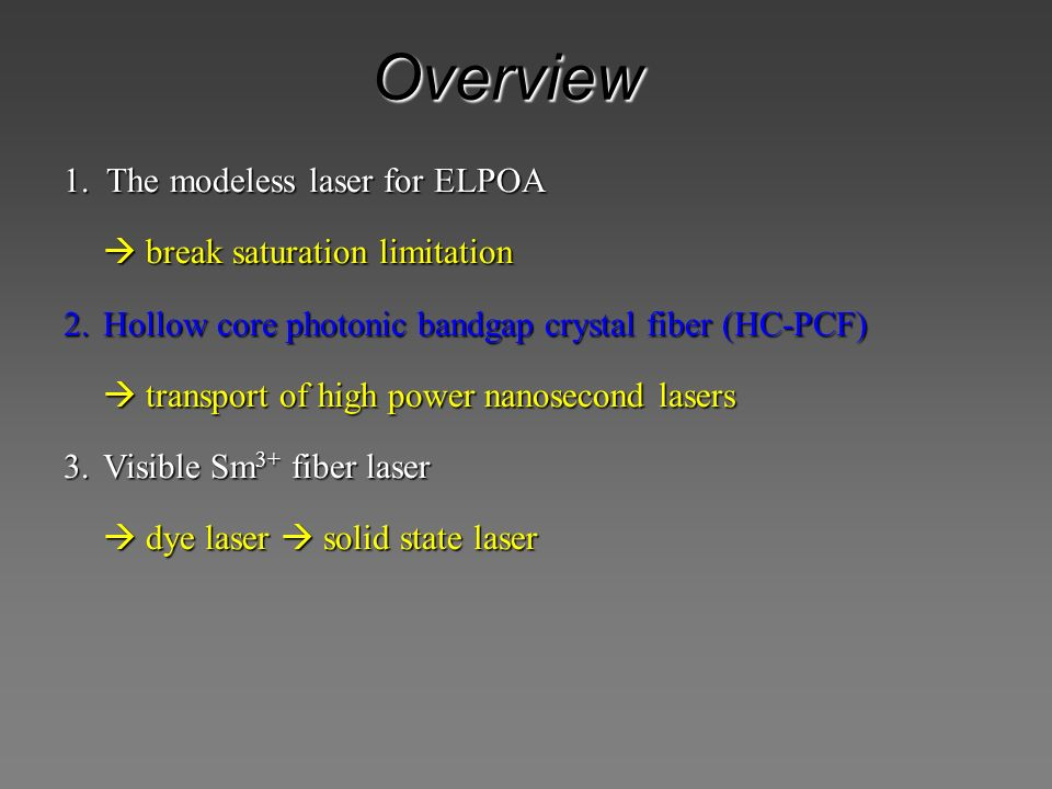 Overview 1. The modeless laser for ELPOA  break saturation limitation