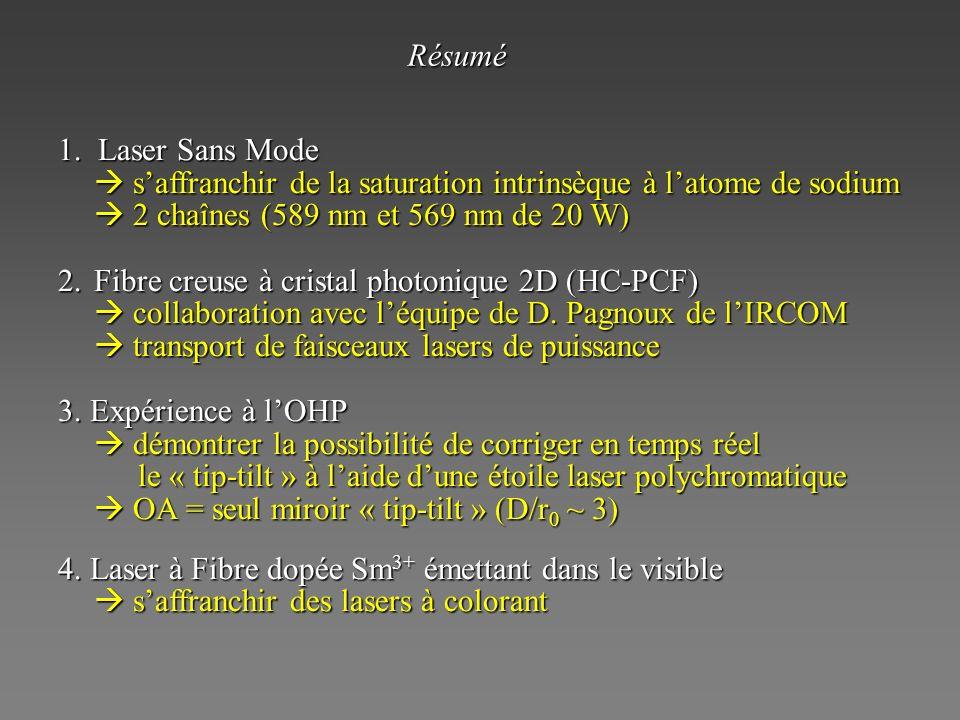 Résumé 1. Laser Sans Mode.  s'affranchir de la saturation intrinsèque à l'atome de sodium.  2 chaînes (589 nm et 569 nm de 20 W)