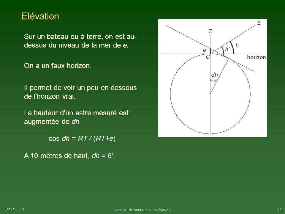 Mesure de hauteur et navigation