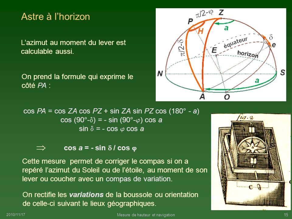Astre à l'horizon  L'azimut au moment du lever est calculable aussi.