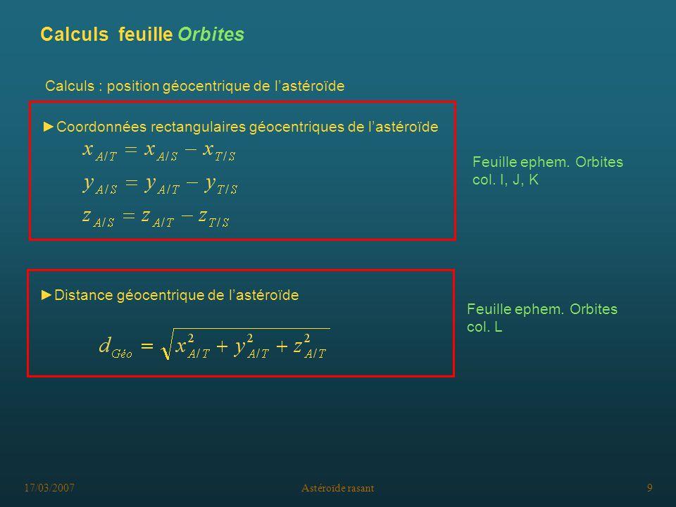 Calculs feuille Orbites