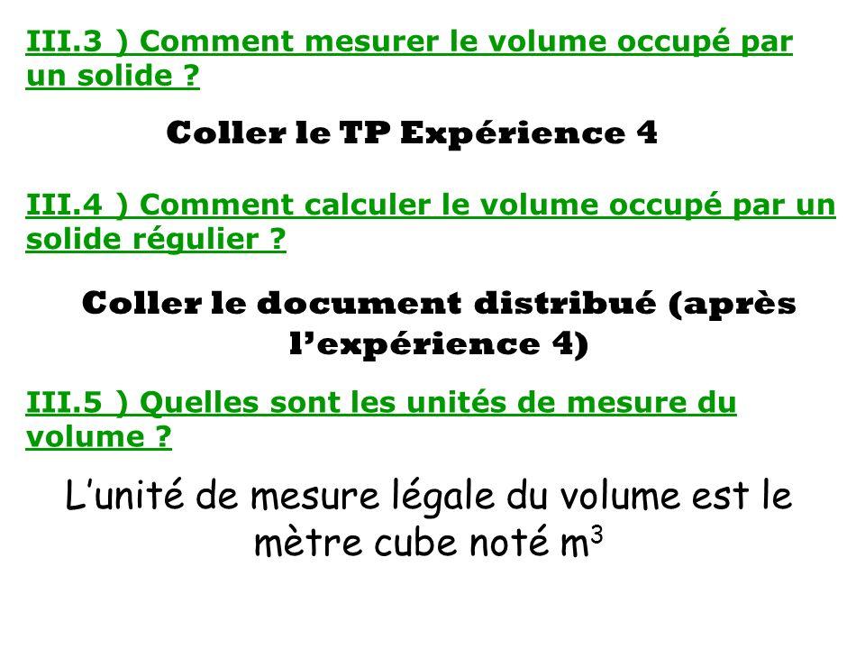 L'unité de mesure légale du volume est le mètre cube noté m3