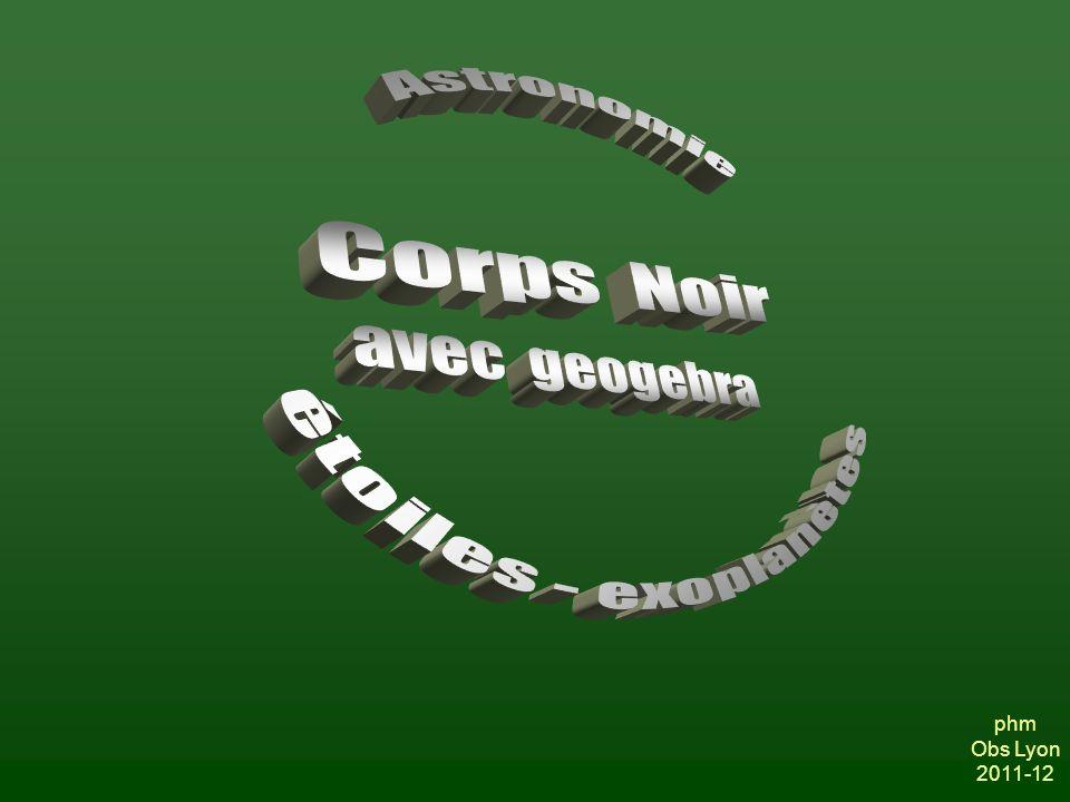 Corps Noir Astronomie étoiles - exoplanètes avec geogebra phm Obs Lyon