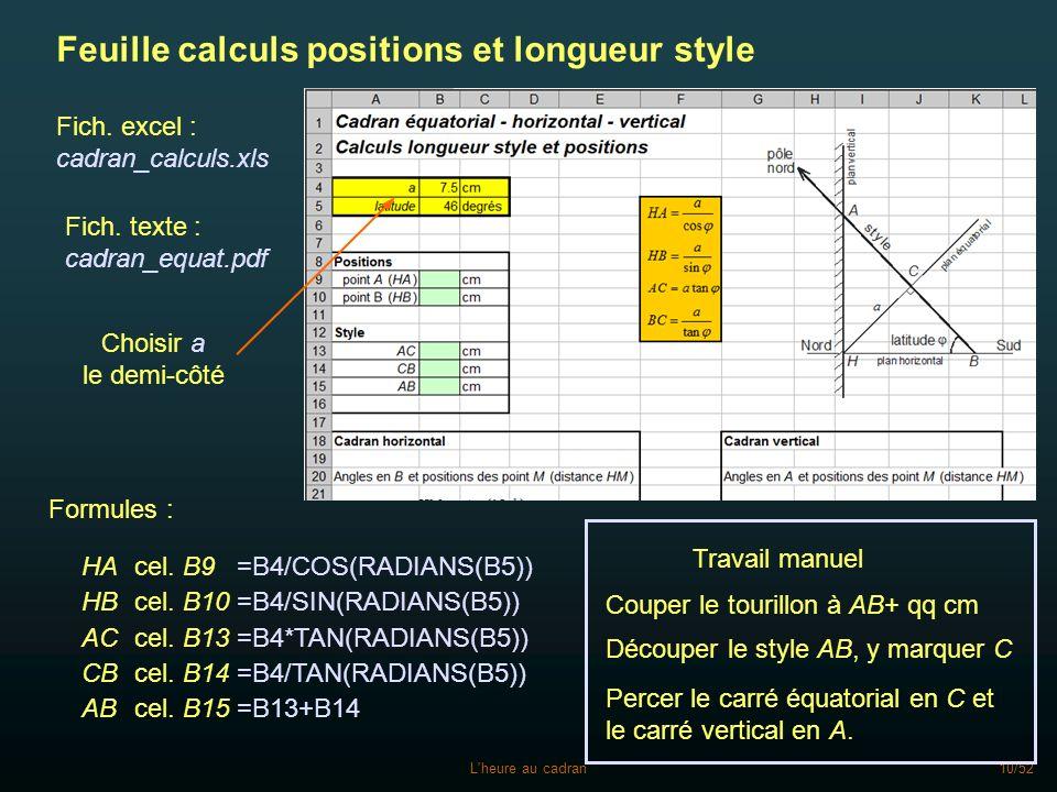 Feuille calculs positions et longueur style