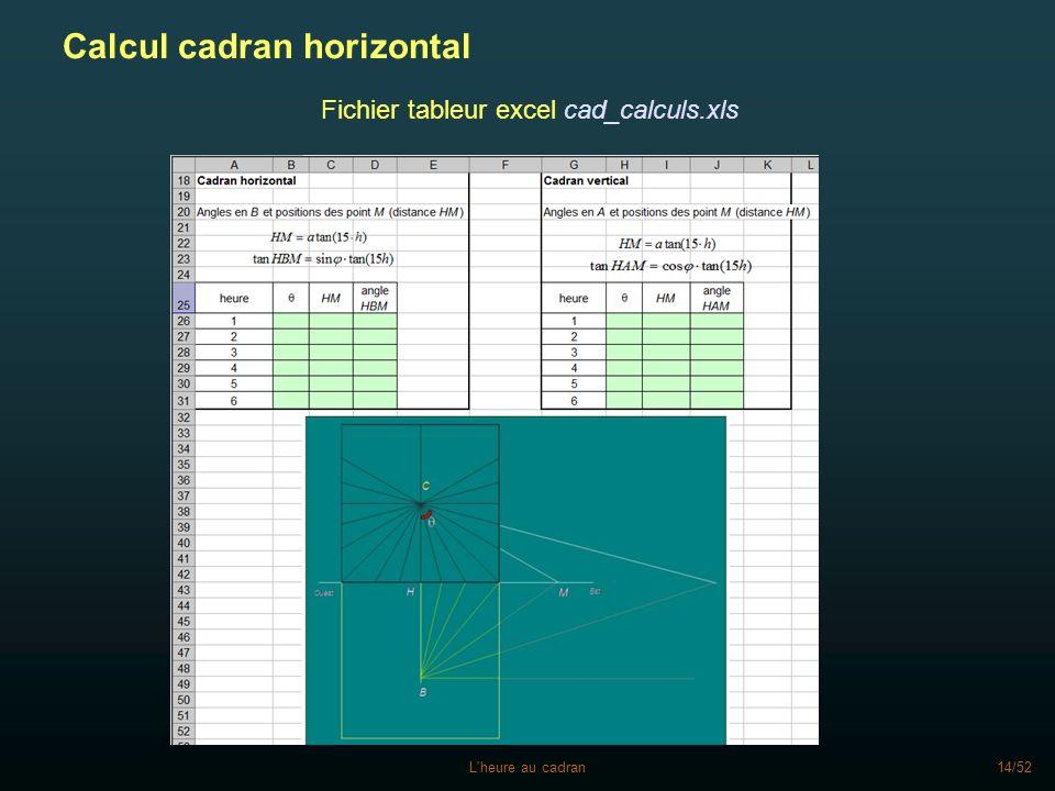 Fichier tableur excel cad_calculs.xls