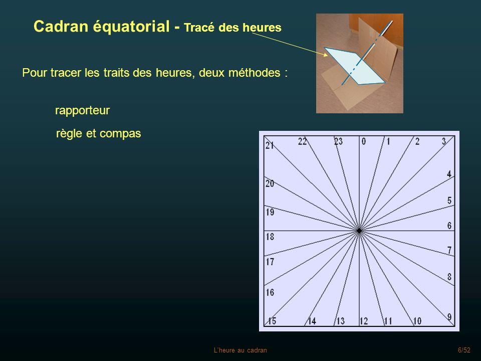 Cadran équatorial - Tracé des heures