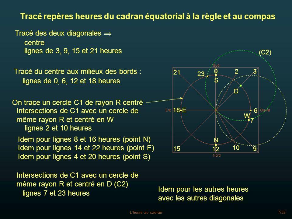 Tracé repères heures du cadran équatorial à la règle et au compas