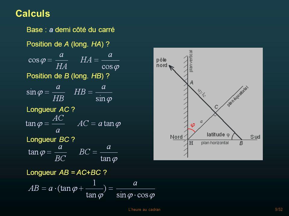 Calculs Base : a demi côté du carré Position de A (long. HA)