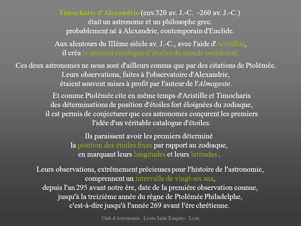 Timocharis d Alexandrie (env.320 av. J.-C. -260 av. J.-C.)
