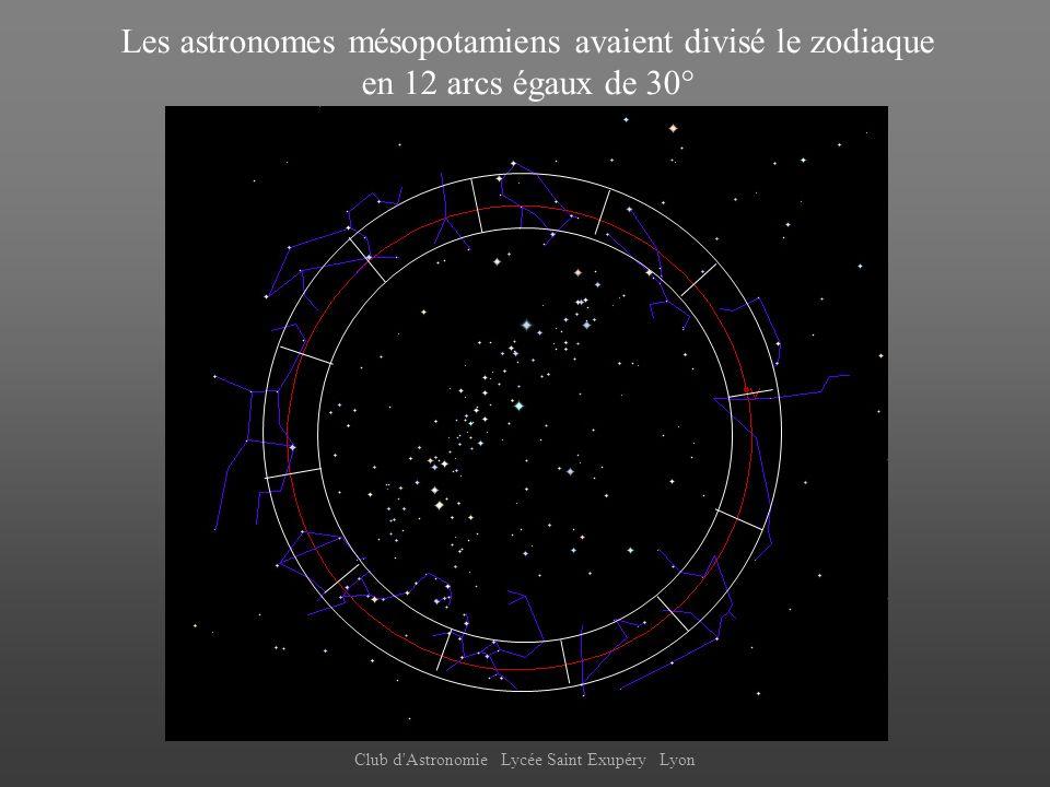 Les astronomes mésopotamiens avaient divisé le zodiaque