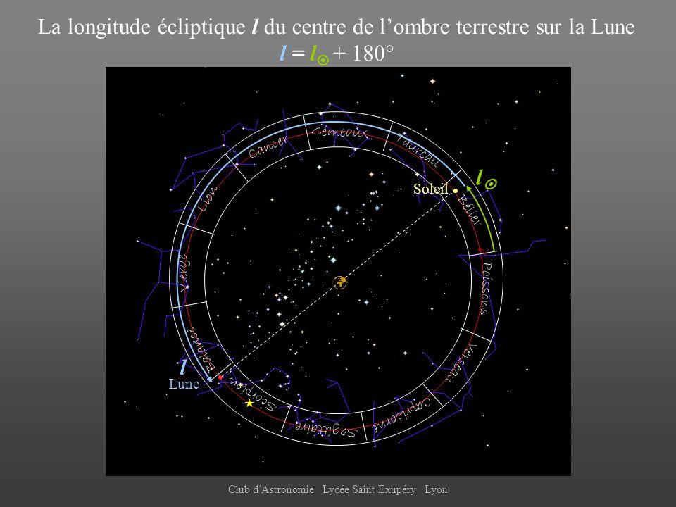 La longitude écliptique l du centre de l'ombre terrestre sur la Lune