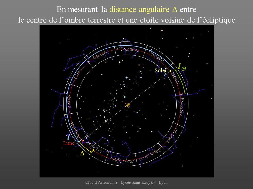 En mesurant la distance angulaire  entre