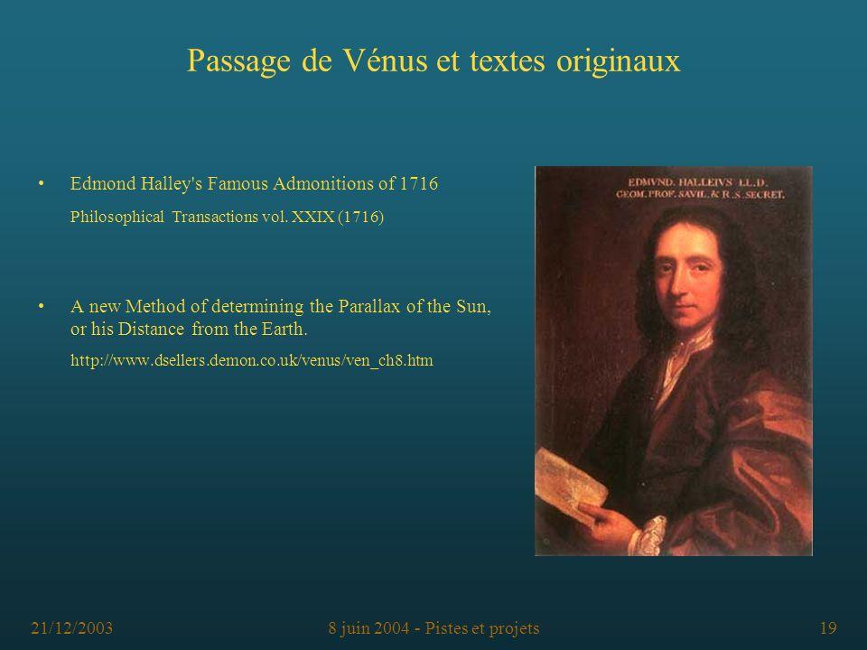 Passage de Vénus et textes originaux