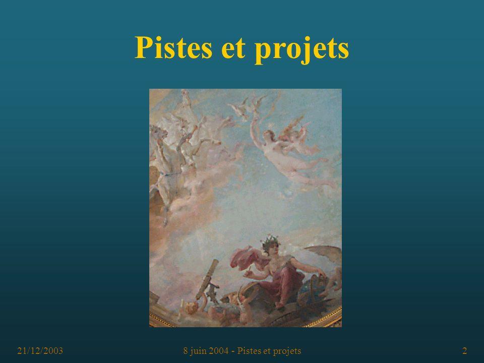 8 juin 2004 - Pistes et projets