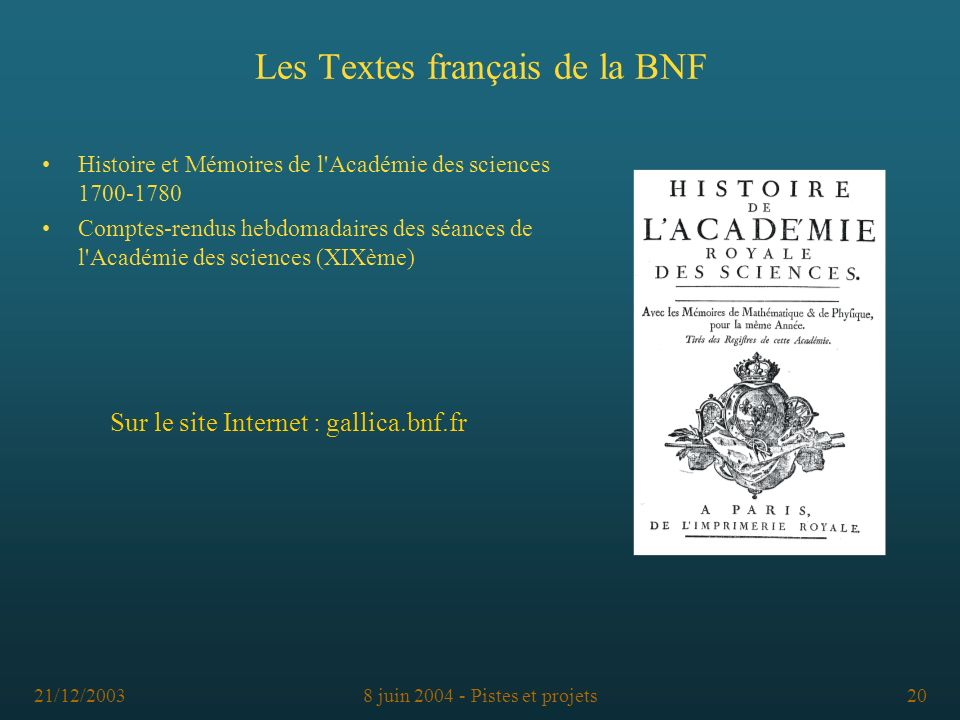 Les Textes français de la BNF