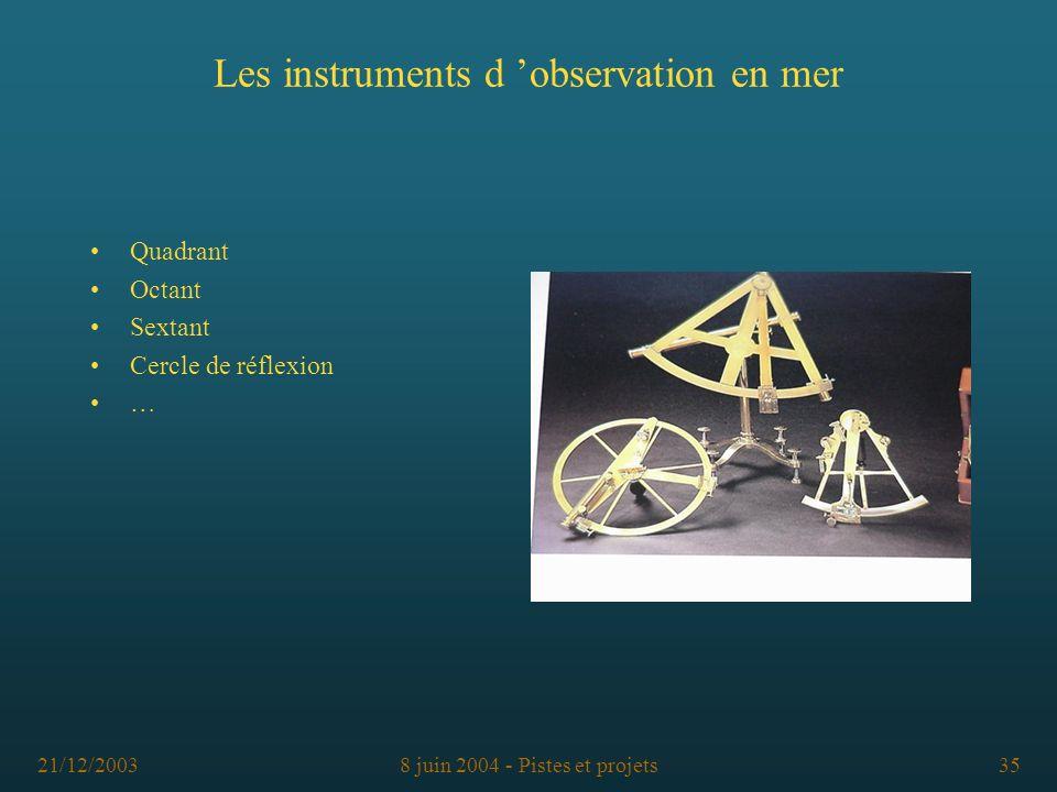 Les instruments d 'observation en mer