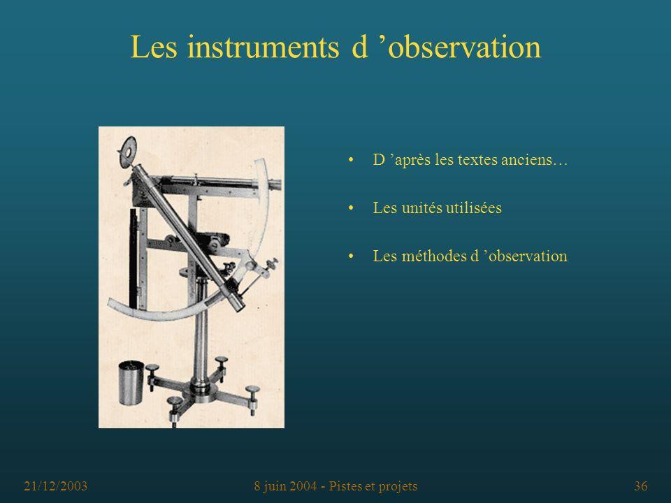 Les instruments d 'observation