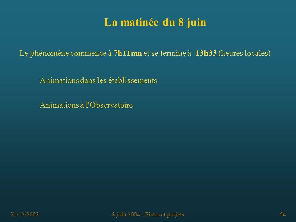 La matinée du 8 juinLe phénomène commence à 7h11mn et se termine à 13h33 (heures locales) Animations dans les établissements.