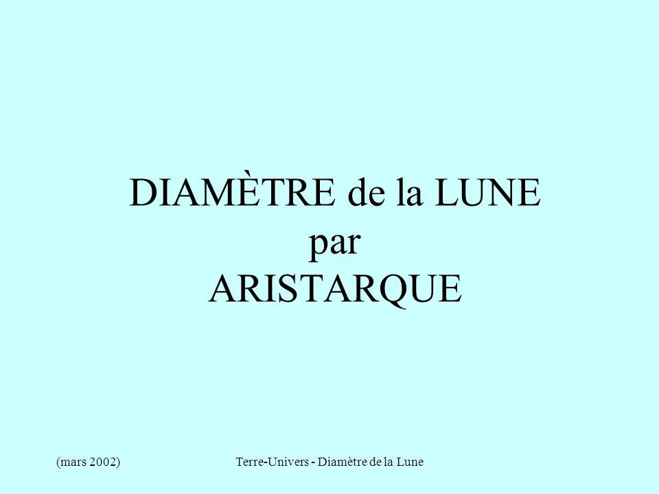 DIAMÈTRE de la LUNE par ARISTARQUE