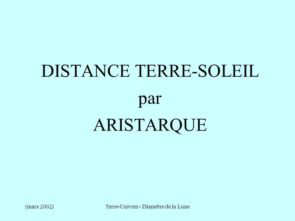 DISTANCE TERRE-SOLEIL par ARISTARQUE