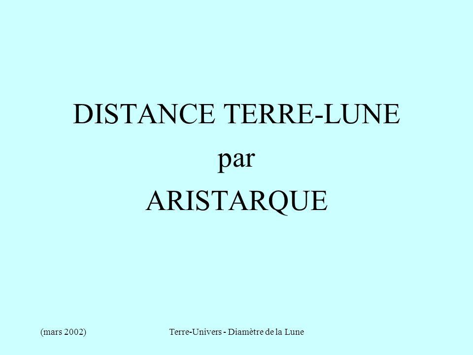 DISTANCE TERRE-LUNE par ARISTARQUE