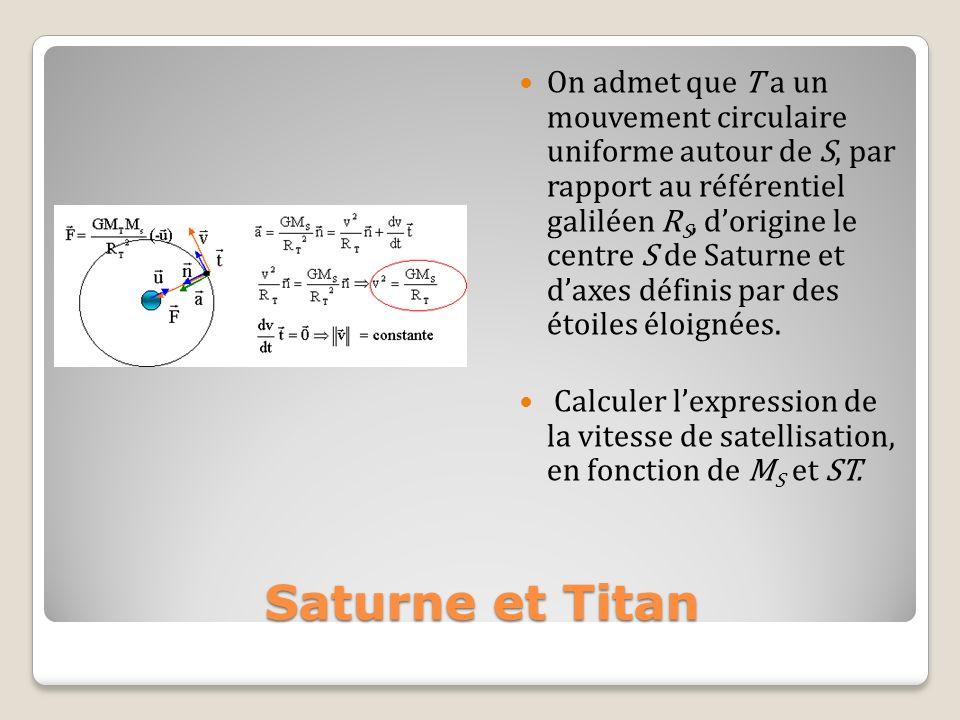 On admet que T a un mouvement circulaire uniforme autour de S, par rapport au référentiel galiléen RS, d'origine le centre S de Saturne et d'axes définis par des étoiles éloignées.