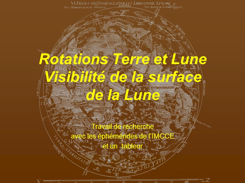 Rotations Terre et Lune Visibilité de la surface de la Lune