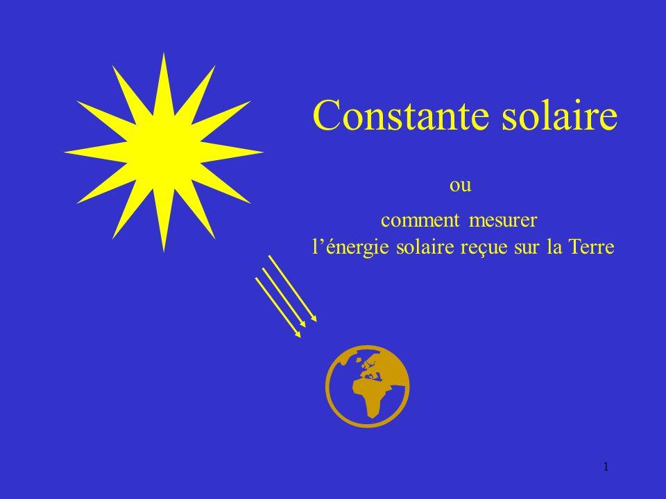 l'énergie solaire reçue sur la Terre