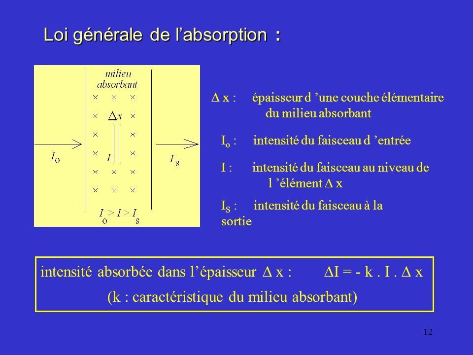 Loi générale de l'absorption :