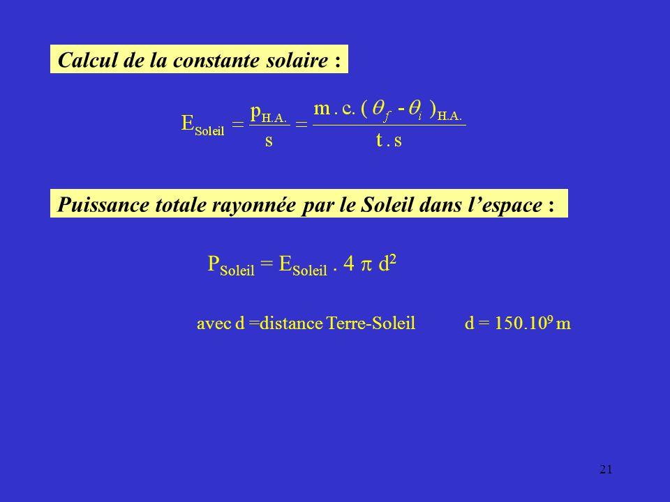 Calcul de la constante solaire :