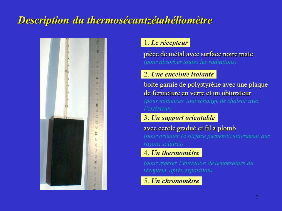 Description du thermosécantzétahéliomètre