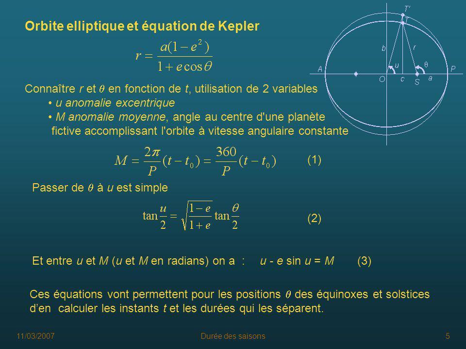 Orbite elliptique et équation de Kepler