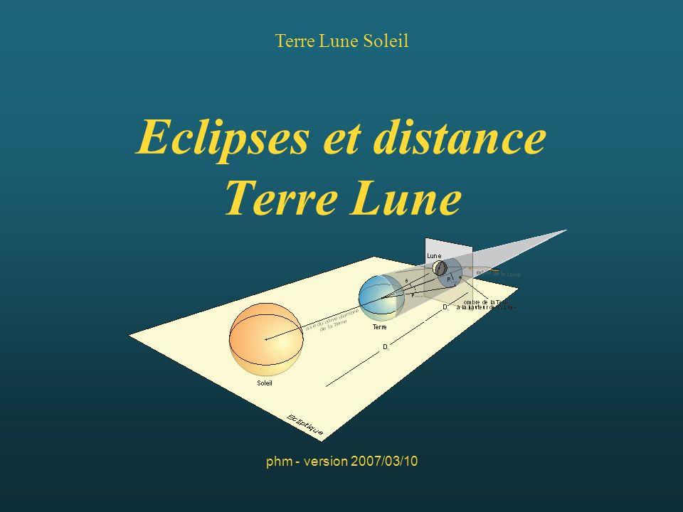 Eclipses et distance Terre Lune