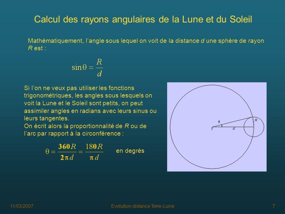 Calcul des rayons angulaires de la Lune et du Soleil