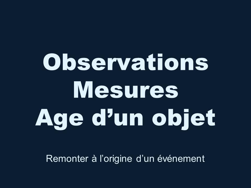 Observations Mesures Age d'un objet