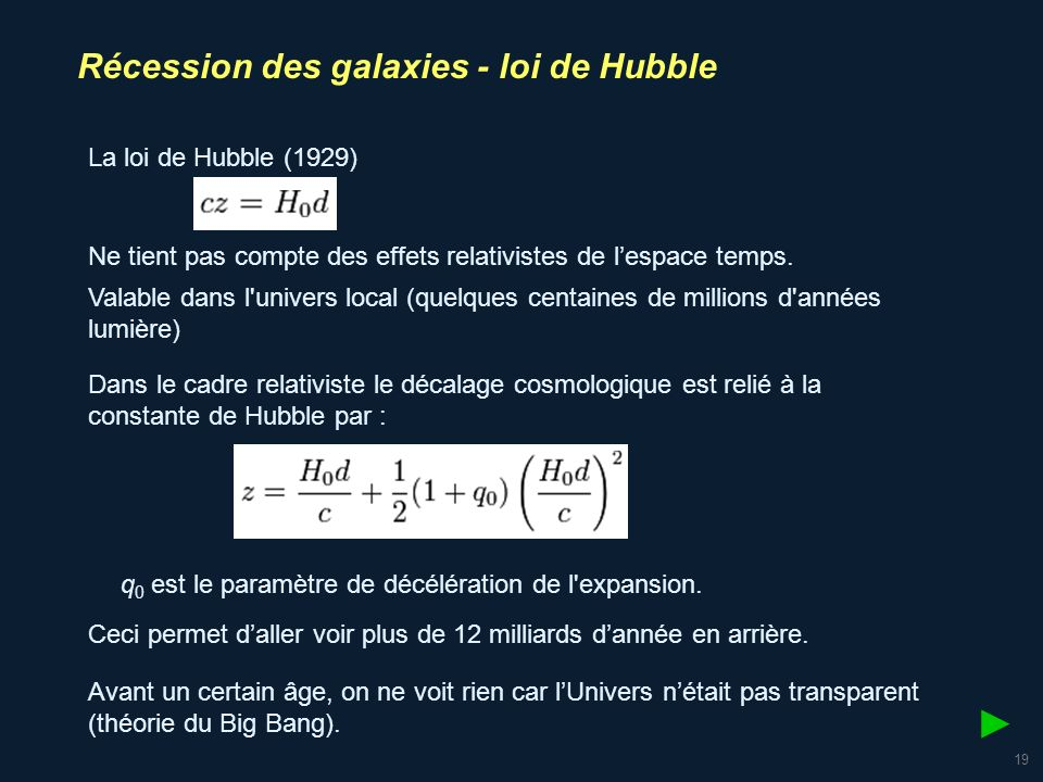 ► Récession des galaxies - loi de Hubble La loi de Hubble (1929)