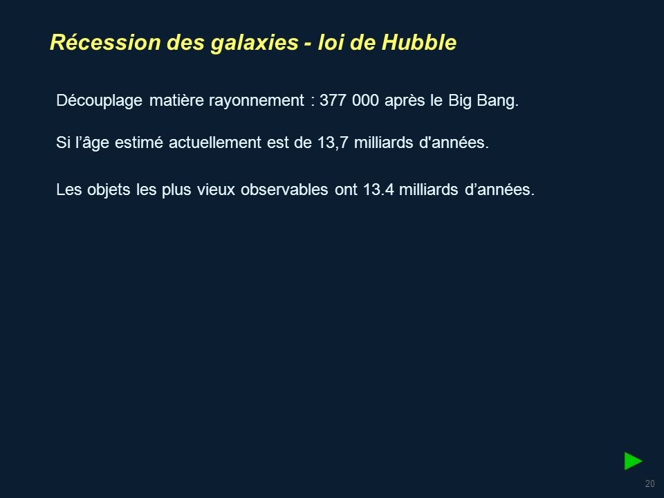 ► Récession des galaxies - loi de Hubble