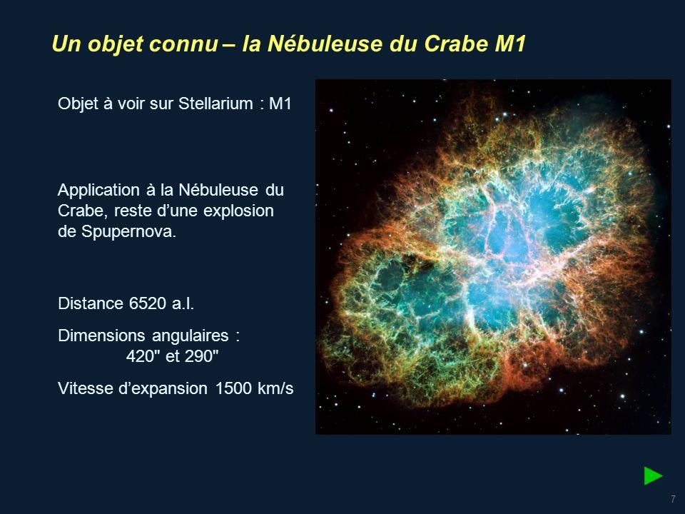 ► Un objet connu – la Nébuleuse du Crabe M1